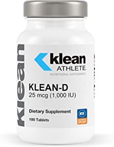 Klean Athlete - Klean-D 25 mcg (1,000 IU) - Targeted Support When The Body Can't Produce Vitamin D Naturally - NSF Certified for Sport - 100 Tablets