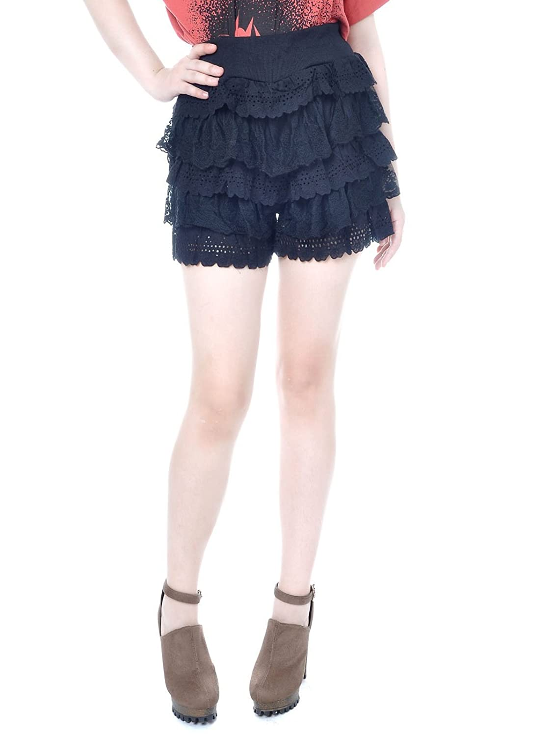 Anna-Kaci S/M Fit Knit Multi Tiered Scalloped Lace Cotton High Waisted Shorts