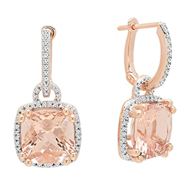 093e94620 Image Unavailable. Image not available for. Color: Dazzlingrock Collection  10K 8 MM Each Cushion Cut Morganite & Round White Diamond Ladies Dangling  Drop