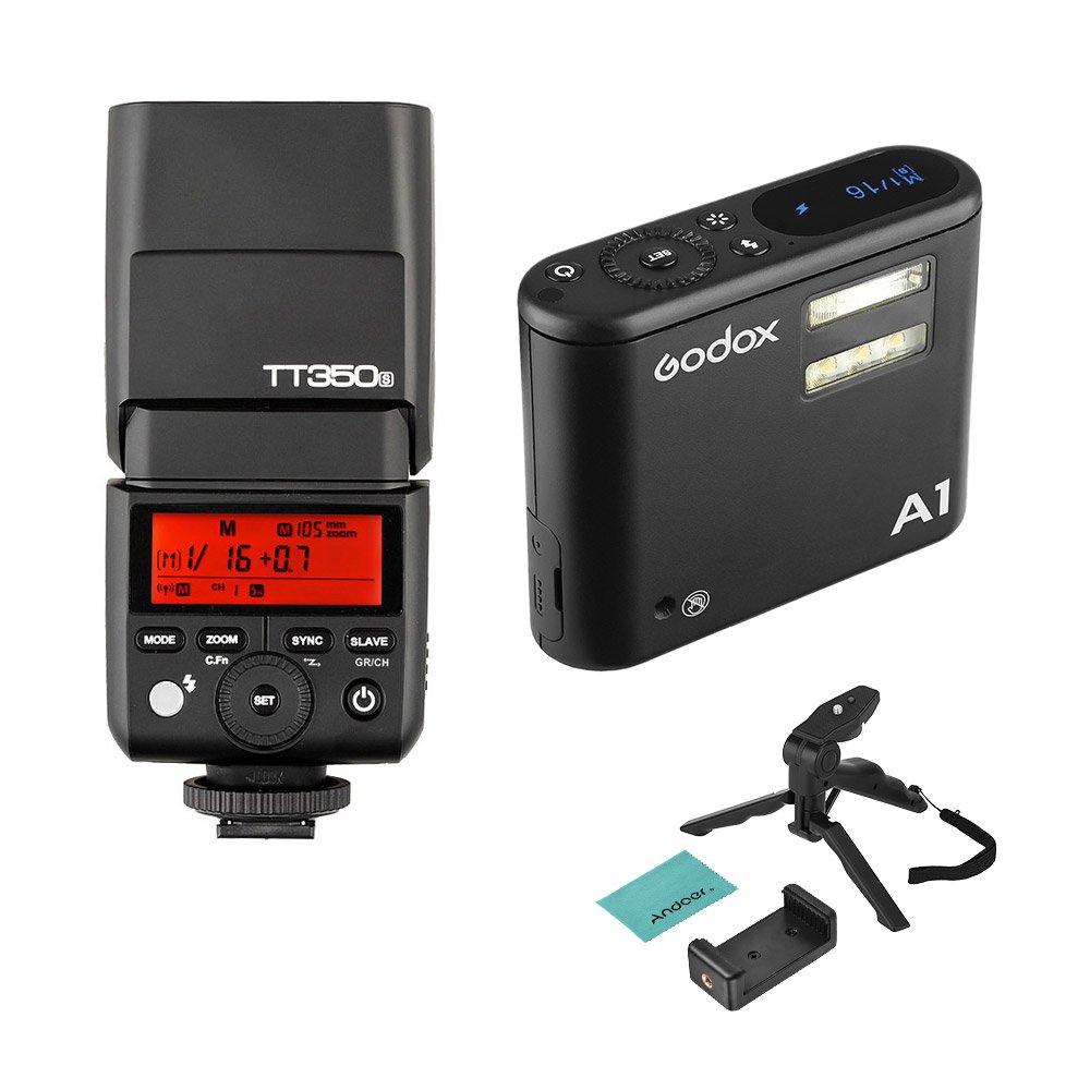 Godox フラッシュセット A1 スマートフォン用 フラッシュ 内蔵 Xシステム マスタスレーブ機能 Godox TT350Sカメラ フラッシュ スピードライト Andoerミニ三脚セット付き iPhone 7/7 plus / 6s / 6s plus用   B0757NP2HY