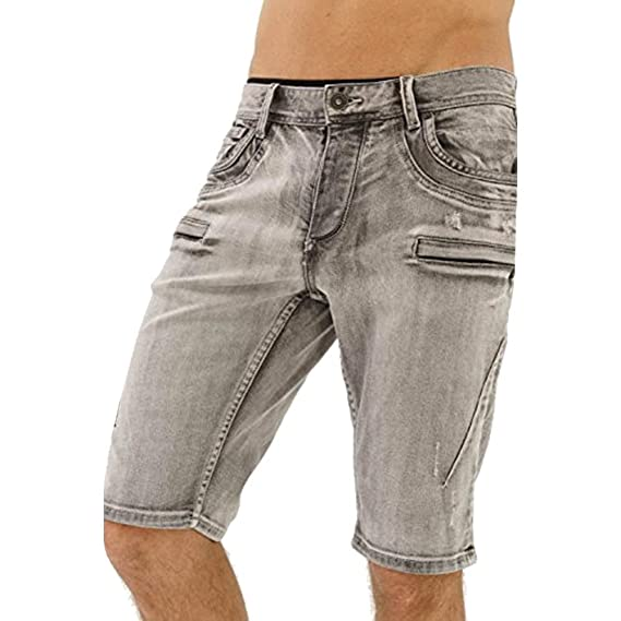 11a3bc1ef9 trueprodigy Casual Mens Clothes Funny Cool Designer Denim Shorts Bermuda Men  Slim Fit Strech Used Zipper Grey Sale  Amazon.co.uk  Clothing