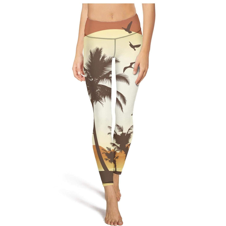 Womens Yoga Pants Palm Tree on Beach Light Long Yoga Pants Yoga Leggings with Pockets