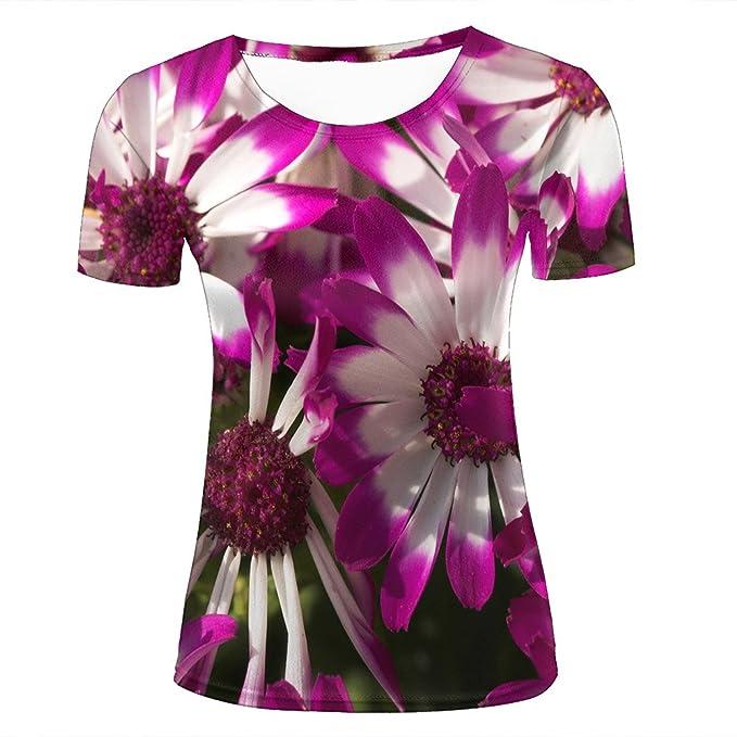 11b24e210eca Amazon.com  Men 3D T Shirts Purple White Daisy Graphic Short Sleeve ...