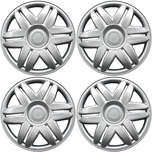 15 inch Hubcaps Best for 1988-2001 Toyota Camry - (Set of 4) Wheel Covers 15in Hub Caps Silver Rim Cover - Car Accessories for 15 inch Wheels - Snap On -