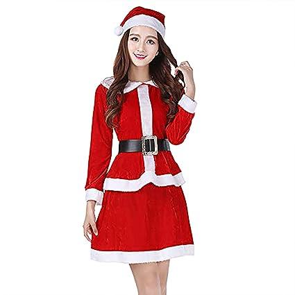ShiyiUP Disfraces de Papá Noel para Navidad Traje de Cosplay para Adultos (M, Vestido Set)
