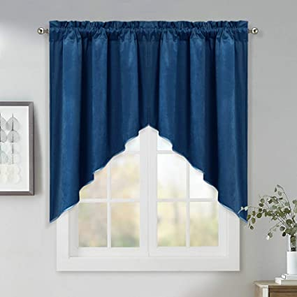 Home Decoration Window Swags Curtains   36 Inch Long Luxury Velvet Textured  Tier Curtains Classic Rod