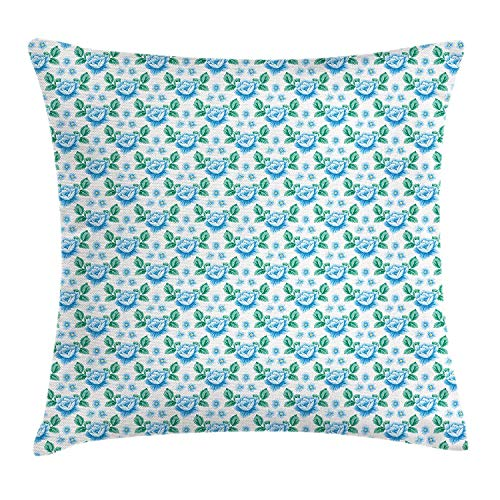 XGUPKL Rose Throw Pillow Cushion Cover, Vintage Blue Roses and Forget Me Not Flowers Botanical Hand Drawn Pattern, Decorative Square Accent Pillow Case, 18 X 18 inches, Sky Blue Jade Green ()