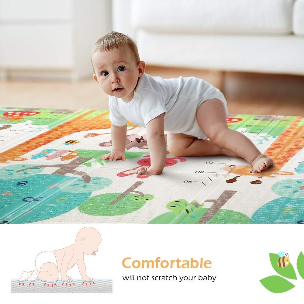 Bammax Babymatte Baby Spielmatte 15mm Dicke faltbare baby bodenmatte umweltfreudliche Baby Krabbelmatte Doppelseiten spielbar ungiftig mit dem Bild Giraffe wasserdicht