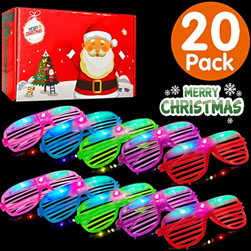 Christmas LED Light Up Glasses 20 Pack Glow in The Dark Party Supplies Toys Flashing Glasses Neon Bright Shutter DJ SunGlasses Christmas Parties Decorations Holiday Birthday Gifts for Adult Kids