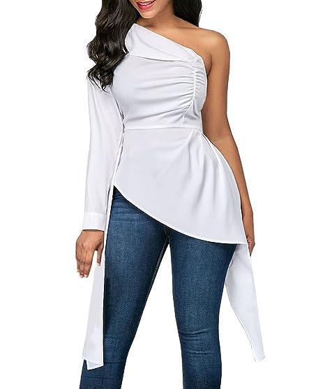 Camisas Mujer De Vestir Elegantes Un Hombro Inclinado Manga Larga Slim Fit Asimetricos Ropa Fiesta Modernas