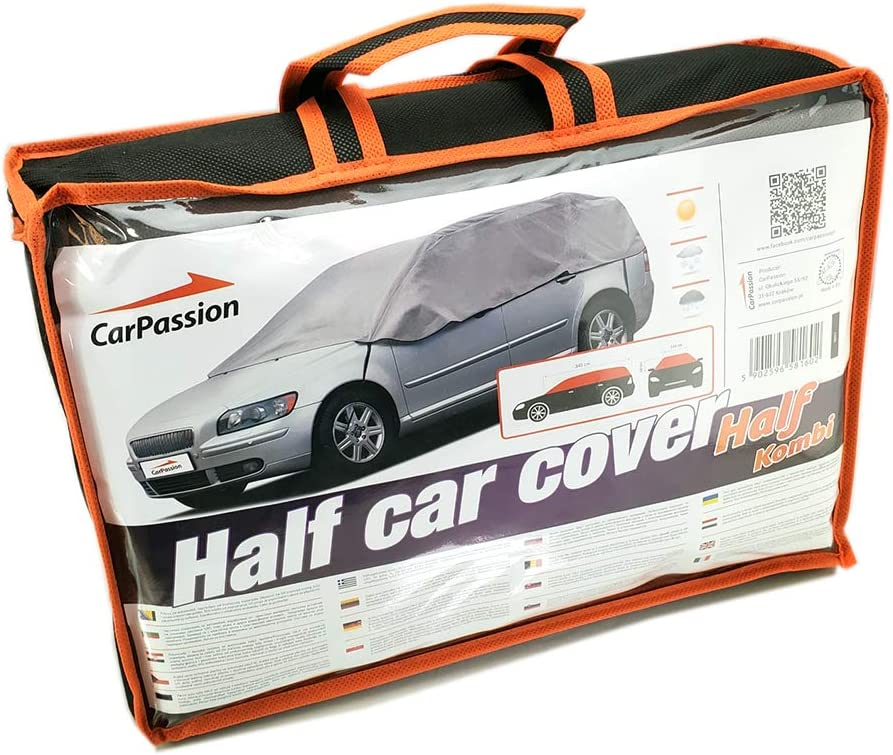 CarPassion Funda Semi para Coche, Impermeable, protección UV, Transpirable, para Exteriores