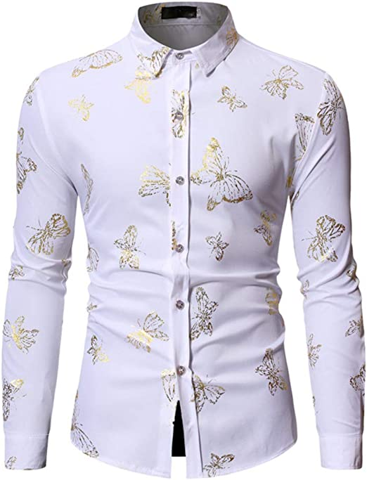 LISILI Camisa Hombre, diseño de Mariposas Doradas, Manga Larga, con Botones: Amazon.es: Hogar