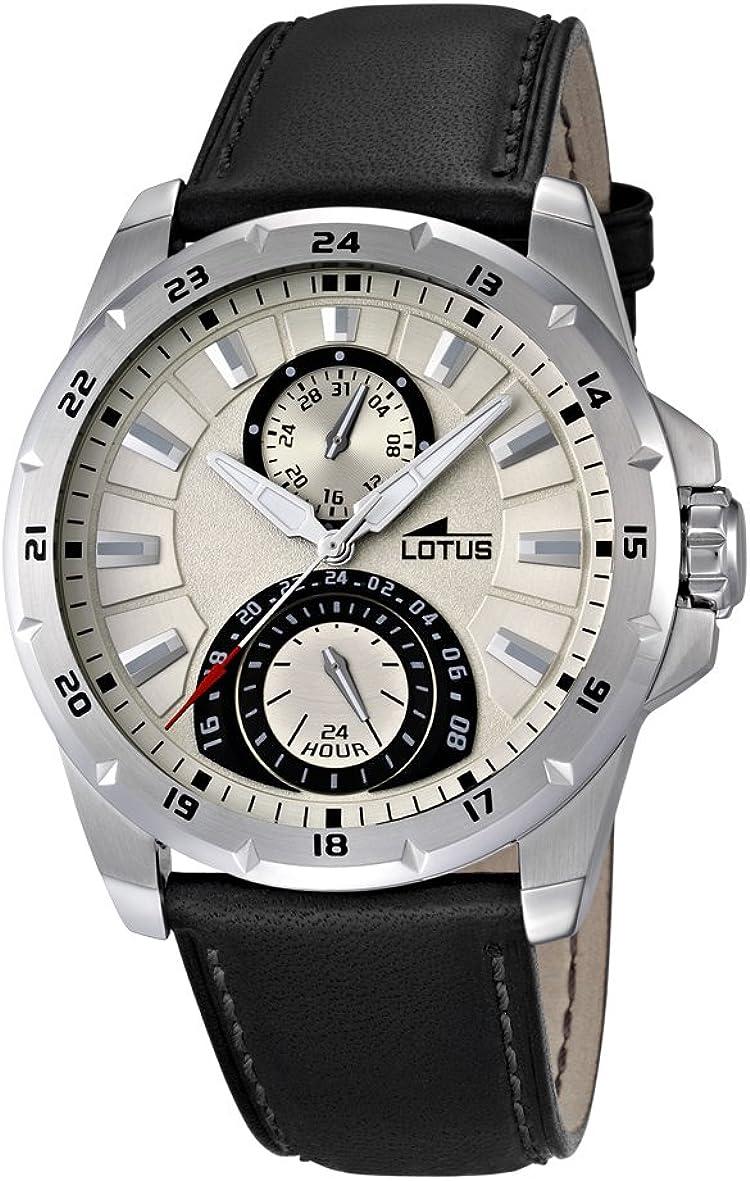 Lotus 15844/1 - Reloj analógico de Cuarzo para Hombre, Correa de Cuero Color Negro (Agujas luminiscentes)