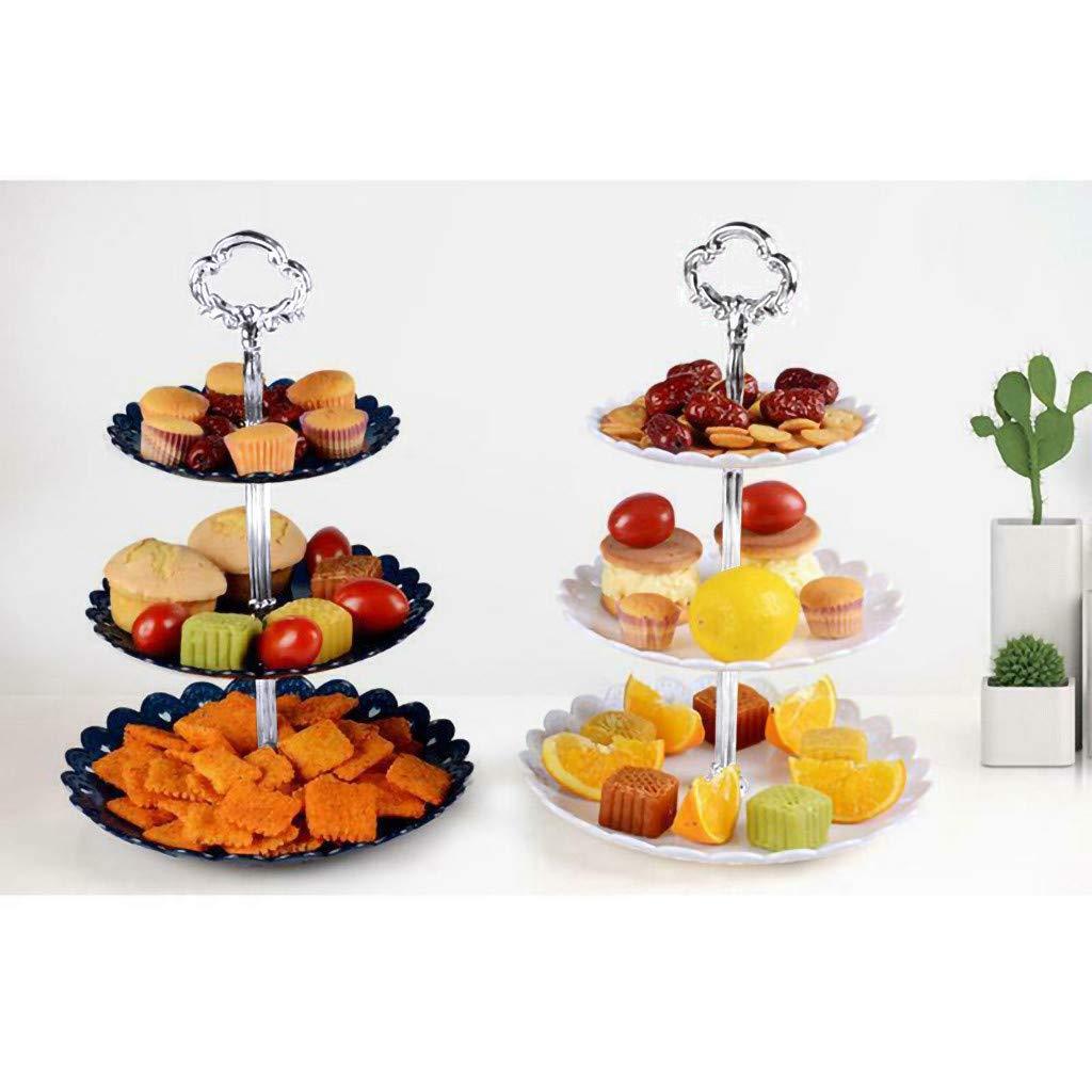approx feste compleanni plastica t/è pomeridiano 14.5 x 18 x 22 cm Alzata per torte a 3 piani: supporto rotondo per cupcake e frutta Dark Blue, per matrimoni