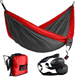 HONEST OUTFITTERS Double Camping Hammock with Hammock Tree Straps,Portable Parachute Nylon