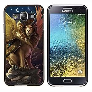 Cubierta protectora del caso de Shell Plástico || Samsung Galaxy E5 E500 || Símbolos León serpiente antigua Ahora Luna @XPTECH