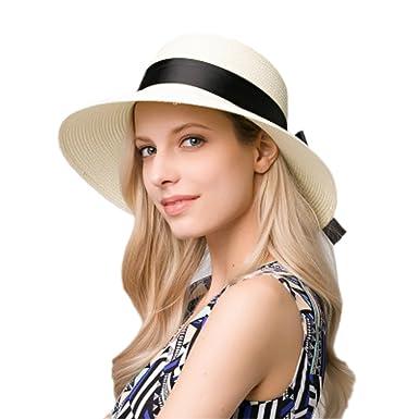 e38abcda29e iHomey Women Straw Sun Hat Foldable Wide Brim UPF 50+ Beach Sun Hats ...