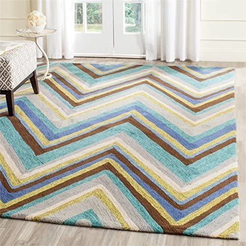 Safavieh Four Seasons Collection FRS389A Hand-Hooked Blue and Multi Indoor Outdoor Area Rug 8 x 10