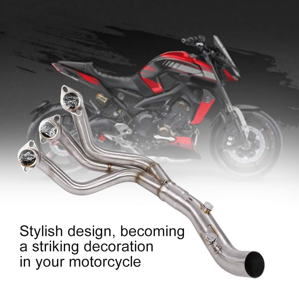 Qiilu Motorcycle Exhaust Modified Scooter Front Pipe Slip-On Full System Fit for Yamaha FZ-09 MT-09 2014 2015 2016 2017 (Straight)