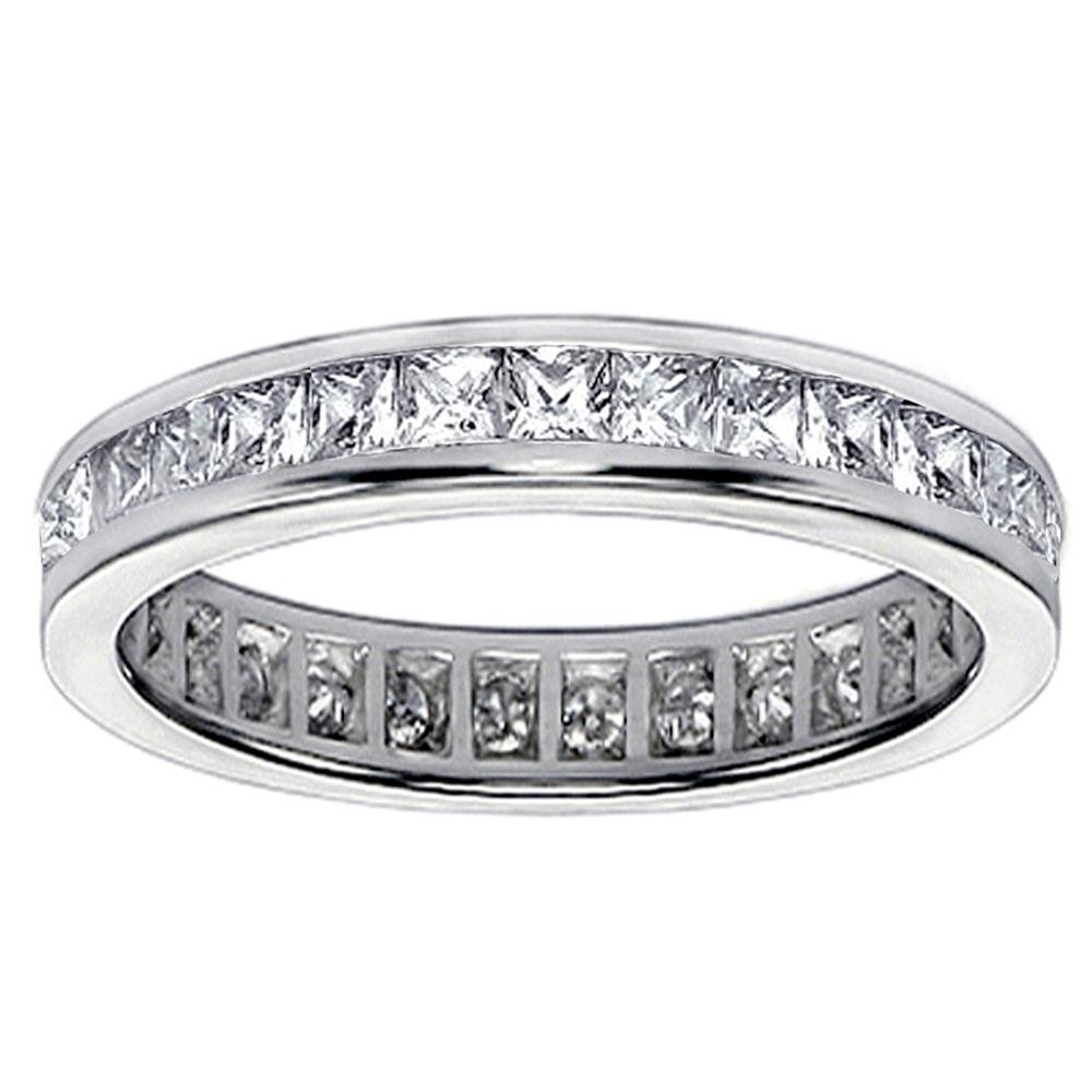 VIP Jewelry Art 1.75 CT TW Princess Cut Diamond Eternity Anniversary Wedding Band in 14K White Gold - Size 7 by VIP Jewelry Art