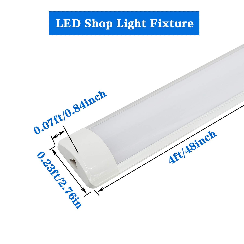 4ft Linkable Led Shop Light For Garage Wraparound Fixture 9w Tube Circuit T5 Parameter Unit 40w 4800lm 6000 6500k Daylight White 4 Foot Linear Lights Fixtures Flush Ceiling