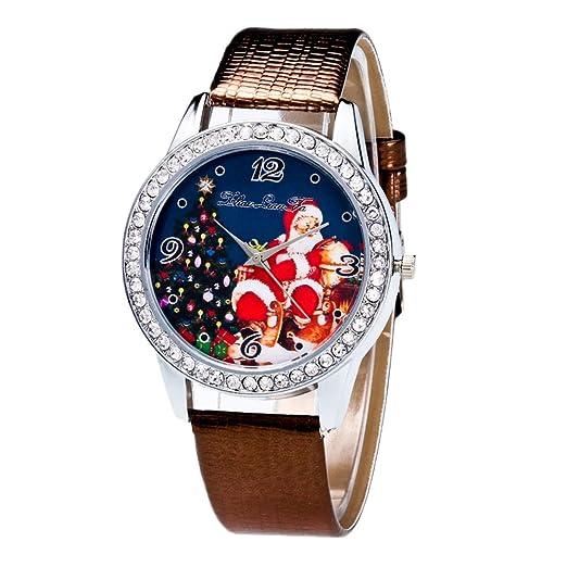Rosepoem Mira la muñeca Relojes de cuero Cinturón de diamantes de imitación Patrón de Santa Claus