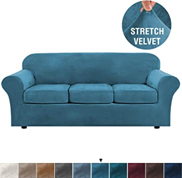 Modern Velvet Plush 4 Piece High Stretch Sofa Slipcover - Remarkable Durability