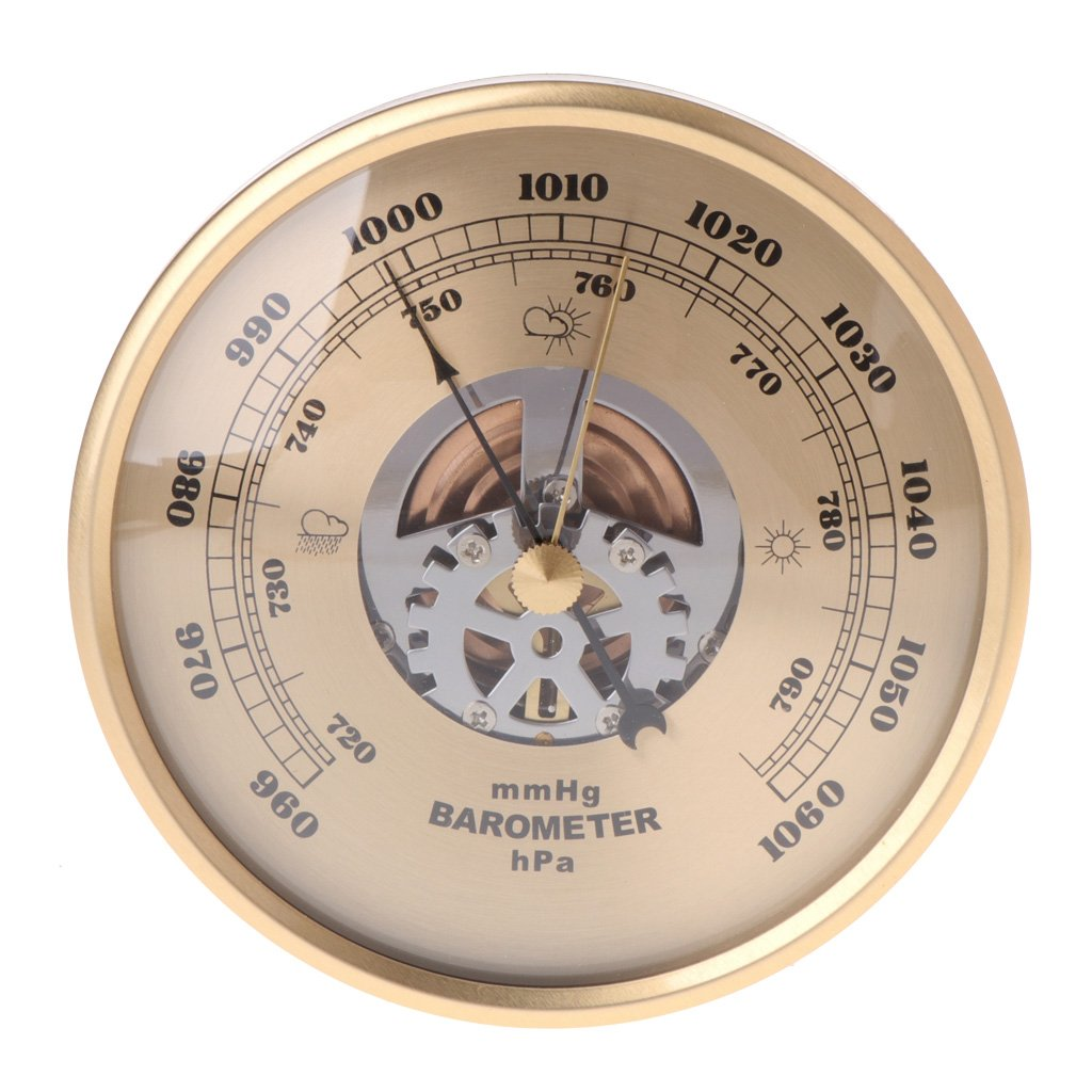Sixsons 108mm Wall Mounted Perspective Round Dial Barometer Air Weather Station mmHg/hPa