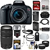 Canon EOS Rebel T7i Digital SLR Camera & EF-S 18-55mm is STM + 75-300mm Lens + 64GB Card + Case + Flash + Battery/Charger + Tripod Tele/Wide Lens Kit