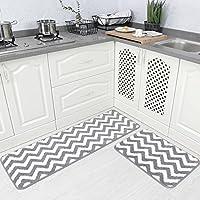 Carvapet 2 Pieces Microfiber Chevron Non-Slip Soft Kitchen Mat Bath Rug Doormat Runner Carpet Set, 17x48+17x24, Grey