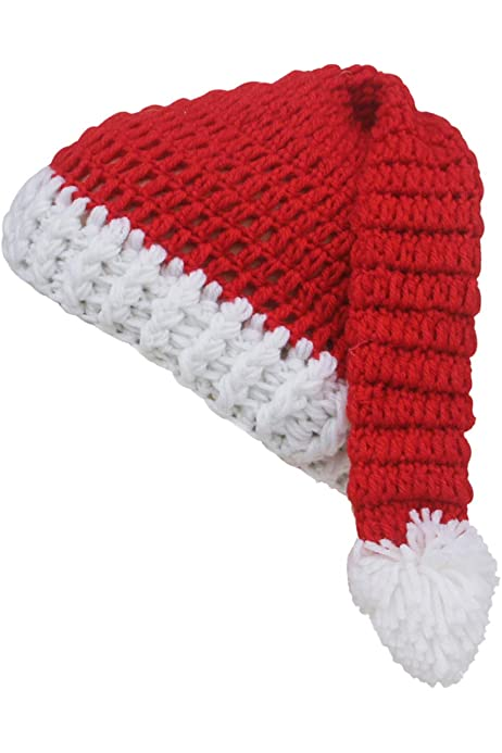 Christmas Beanie One Size Fits Most Crochet Unisex Santa Claus Inspired Beanie Fuzzy White and Red Skull Cap Soft Christmas Hat