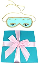 Audrey Hepburn Breakfast at Tiffany's, Sleep Mask, Handmade, Silk, Blue w gift box