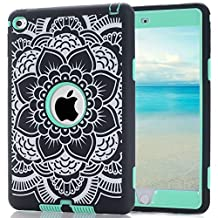 iPad Mini 4 Case,MAKEIT Dual layers Shockproof Hybrid Case Hard Cover Pc+Silicone Protective High Impact Defender Cover For iPad Mini 4 (B-Mint green)