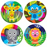 French Bull 8-Inch Jungle Theme Assorted Plate Set, Set of 4