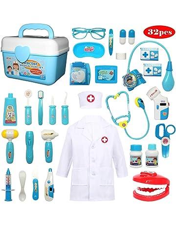 Buyger 32 Piezas Juguete de Doctora Enfermera Disfraz Cosplay de Médico Maletín Caso Dentista Clínica Dental