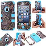 iPhone 5C Case,Lantier Defender Body Armor Realtree Camo Hard Silicon Rubber Military Rugged Protective Case Combo with Camouflage Wood Design Cover for Apple iPhone 5C [Green Tree Blue]