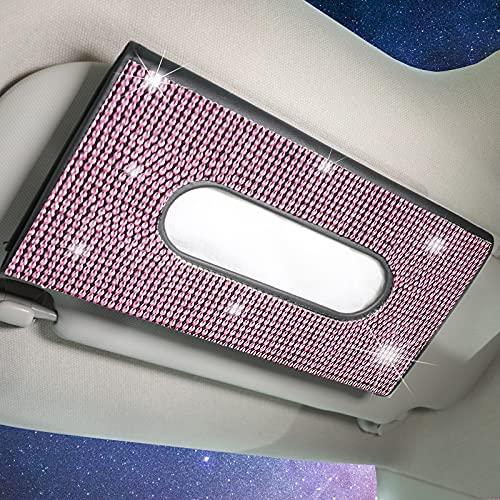 iliensa Bling Auto Sun Visor Napkin Holder, Sparkling Crystal Diamond Leather Paper Towel Cover Case Hanging Car Visor Tissue Holder Car Accessories Universal Fit (Pink)