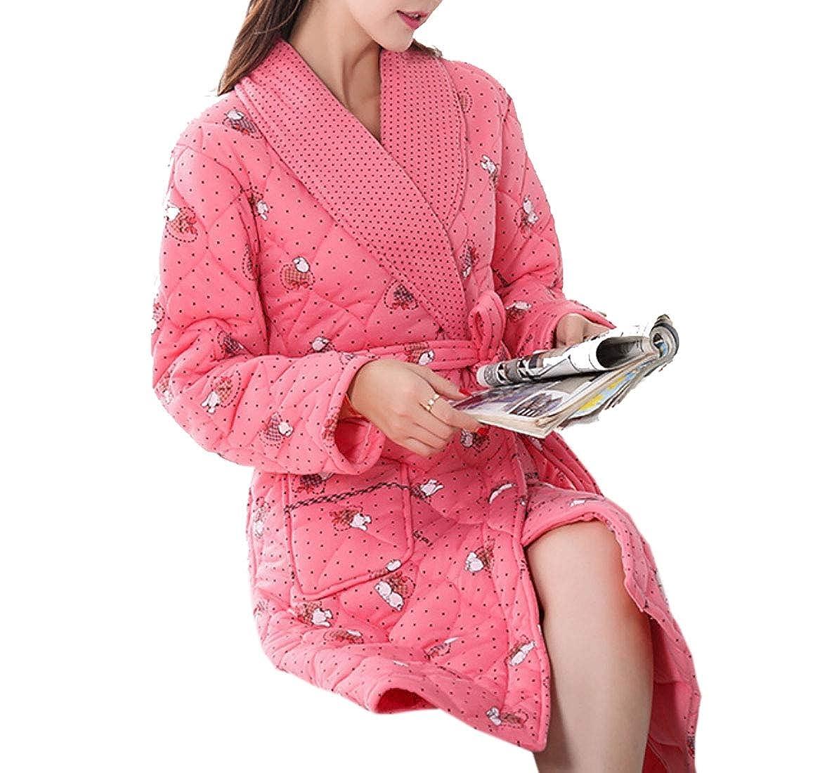 2 Keaac Women Cute Cotton Flannel Fleece Long Sleeve Cozy Bath Robe Sleepwear