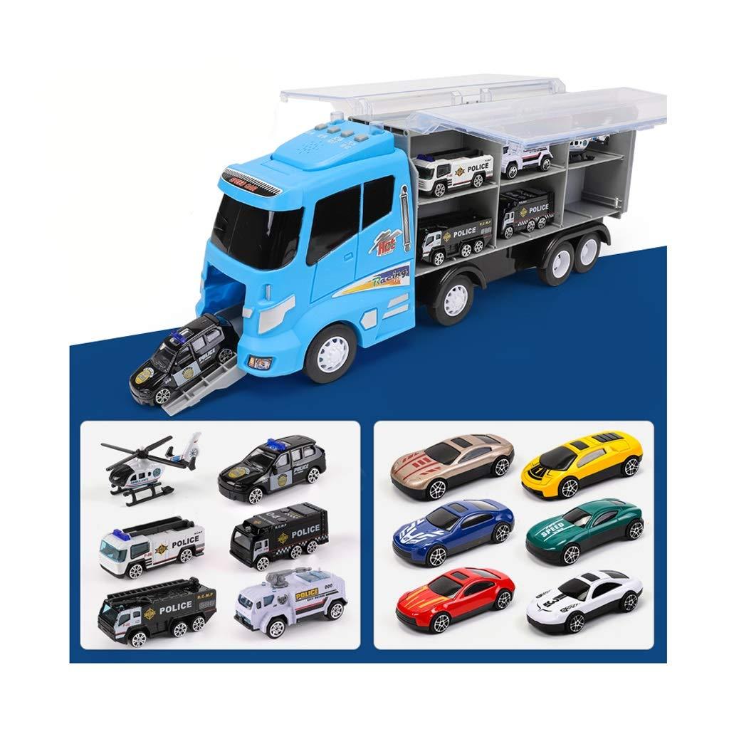 Polizeiauto Spielzeug, Spielzeug LKW Transport Autotransporter Spielzeug Kinder, leichte Musik LKW Spielzeug-perfekte junge Geschenk Spielzeug (12 Autos)