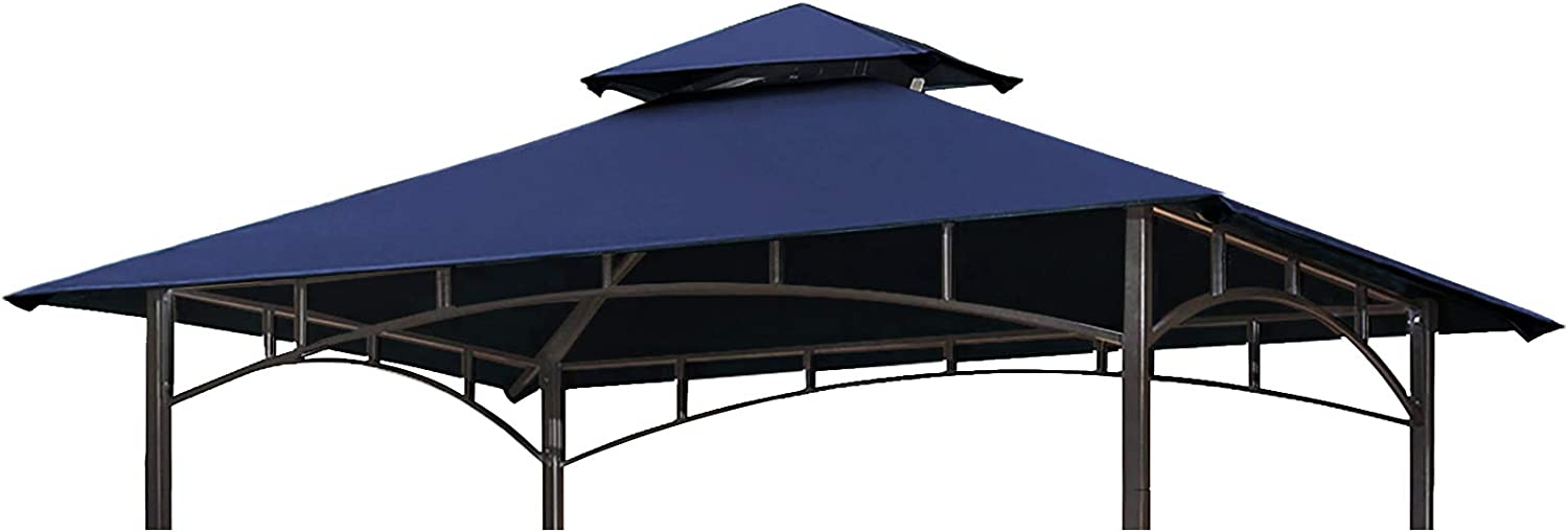 Eurmax 5FT x 8FT Double Tiered Replacement Canopy Grill BBQ Gazebo Top Gazebo Replacement Canopy Roof(Navy Blue)