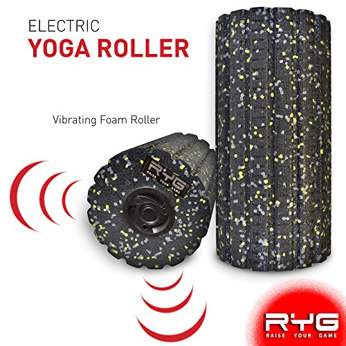 RYG 4-Speed Vibrating Electric Muscle Foam Roller, Thick Firm High Density Trigger Point Massager Kit for Myofascial Release, Electronic Physical Therapy Rollers for Sore Muscles Deep Tissue Recovery