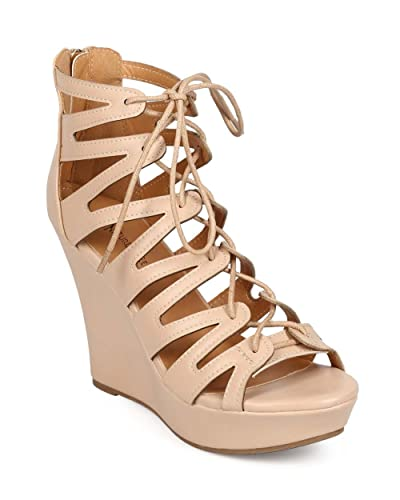 a0149db0a85 Women Leatherette Peep Toe Lace Up Gladiator Wedge Sandal EE37 - Beige