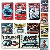 Garage Sign Metal Plaque Garage Vintage 8 Types Retro Vintage Metal Tin Sign Car Repair Shop Garage Retro Plaque Poster Bar Pub Club Wall Tavern Garage Home Decor (Random)