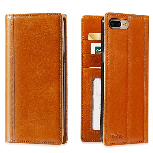 iPhone 7 Plus Case — iPulse Genuine Italian Full Grain Leather Handmade Flip Wallet Case For iPhone 7 Plus (5.5 inches) – [Vintage Book Style ] [Buil…