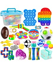 YOLOMOON Sensory Fidget Toys Set, 32Pcs Fidget Pack Cheap, Fidget Toy Pack with Storage Box, Stress Relief and Anti-Anxiety Fidget Toy for Kids Adults, Gifts for Boys Girls Birthday Party Favours, Carnival Prizes Bag Fillers Christmas Gifts