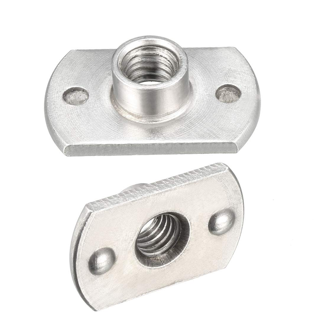 sourcing map M6 Carbon Steel Slab Base T-Shaped 2 Projection Weld Nuts Pack of 25