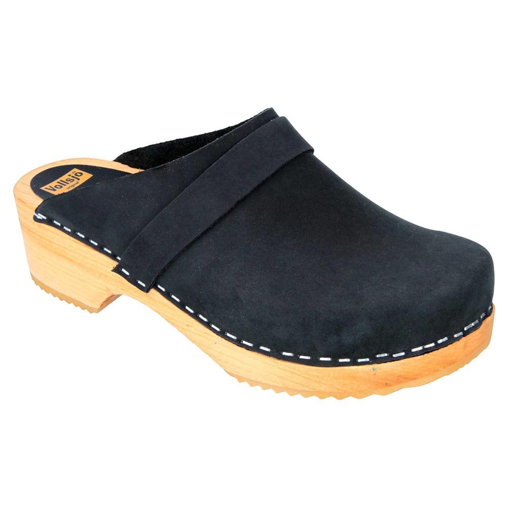Vollsjo Women's Genuine Leather Wooden Clogs Made in EU, Black,7