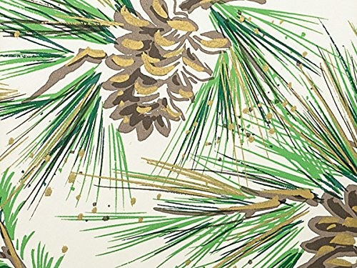 NEW Pine Boughs & Pine Cones w/Gold Accents Christmas Gift Wrap Paper - 16ft Roll (Pine Boughs Christmas)
