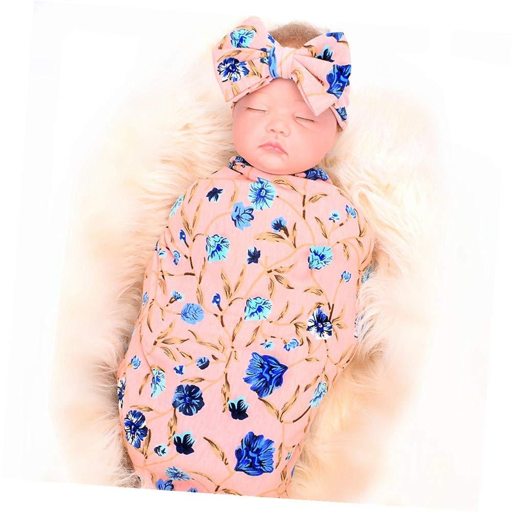 Newborn Receiving Blanket Headband Set, Flower Print Baby Swaddle Blanket with Bow Set, Baby Shower Giftfor Girls Boys (Pink)