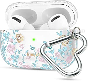 Queenxbar 4 in 1 Protective Clear TPU Cover Floral Print Cute Case Airpods Pro Accessories Sets Bling Crystals with AirPods Strap/Heart-Shaped Carabiner for Apple Airpods 3